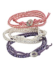3 Wrap-around Pastel Colour Bracelets