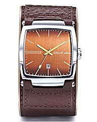 Black Dice Gents Brown Strap Date Watch