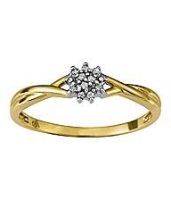 9 Carat Gold Twist Diamond Cluster Ring