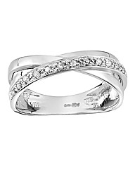 9 Carat White Gold Diamond Twist Ring