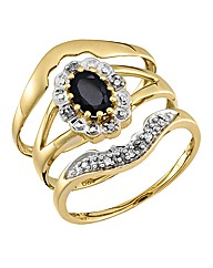 9 Carat Gold Sapphire & Diamond Ring Set