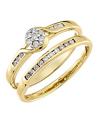 9 Carat Gold 1/4 Carat 2 Piece Diamond S