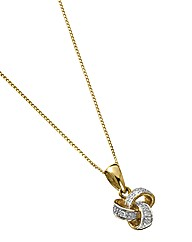 9 Carat Gold Diamond Knot Pendant