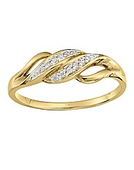 9 Carat Gold Diamond Two Row Ring