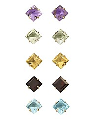9 Carat Gold Square Gemstone Earrings