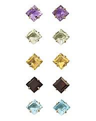 9 Carat Gold Square Gemstone Earrings