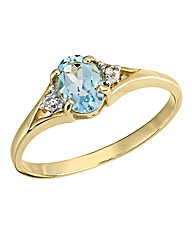 9 Carat Gold Diamond-Set Birthstone Ring
