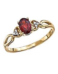 9 Carat Gold Diamond Set Gemstone Ring