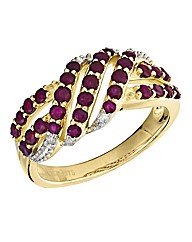 9 Carat Gold Ruby Twist Ring