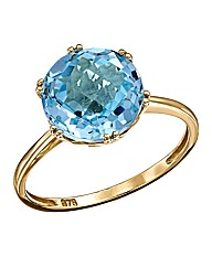 9 Carat Gold Blue Topaz Solitaire Ring