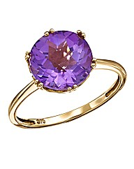 9 Carat Gold Amethyst Solitaire Ring