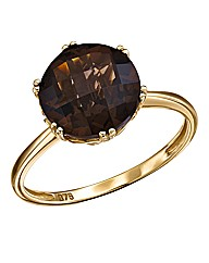 9 Carat Gold Smoky Quartz Solitaire Ring