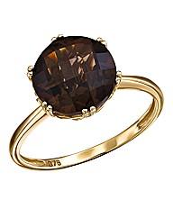 9 Carat Gold Smoky Quartz Solitaire Ring