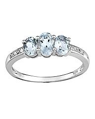 9 Carat Gold Three Stone Aquamarine Ring