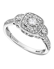 9 Carat Gold Cushion Shaped Diamond Ring