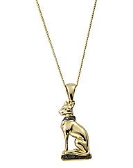 9ct Gold Black Diamond Bast Cat Pendant