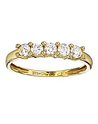 9 Carat Gold 5 stone Cubic Zirconia Ring