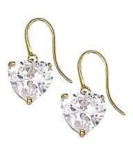 9 Carat Gold Heart Drop Earrings