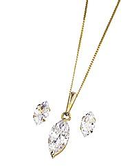 9 Carat Gold CZ Earrings & Pendant