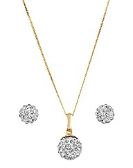 Crystal Glitz 9ct Pendant & Earrings