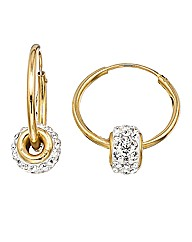 Crystal Glitz 9 Carat Gold Hoop Earrings