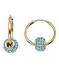 Crystal Glitz 9 Carat Gold Hoop Earrings
