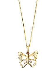 9 Carat Cubic Zirconia Buttefly Pendant
