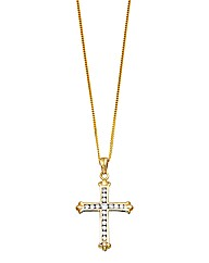 9ct Gold Cubic Zirconia Cross Necklace