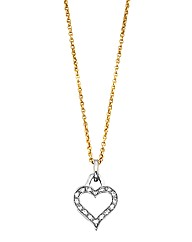 9 Carat Gold Two Colour Heart Necklace