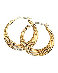 9ct Gold Hollow Groove Creole Earrings