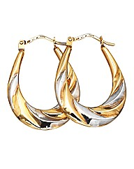 9ct Gold Two Colour Hollow Hoop Earrings