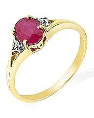 9 Carat Gold Diamond-Set Birthstone Ring