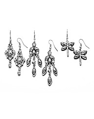 Set of Three Ladies Drop Earrings