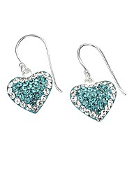 Sterling Silver & Crystal Heart Earrings