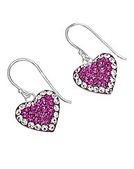 Crystal Glitz Silver Heart Earrings