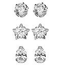 Cubic Zirconia Set of Three Stud Earring