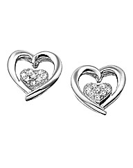 Sterling Silver & Diamond Heart Earrings