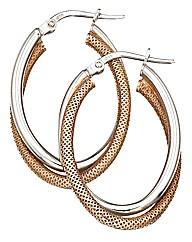 Sterling Silver Two-tone Hoop Earrings