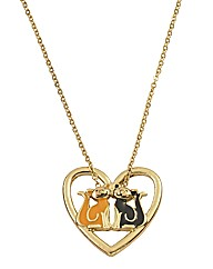 Cat Open Heart Necklace
