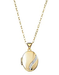 9 Carat Gold Diamond Set Locket Pendant