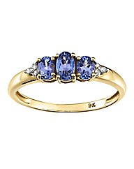 9 Carat Gold Three Stone Tanzanite Ring
