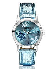Ladies Flower Dial Strap Watch