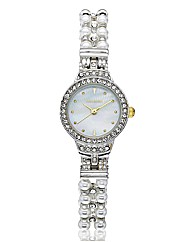 Monsoon Ladies Faux-Pearl Stretch Watch