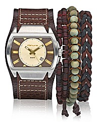 Kahuna Brown Strap Watch and Bracelet Se