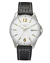 Esprit Black Leather Strap Date Watch