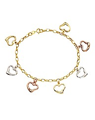 9 Carat Gold Three-Colour Heart Bracelet