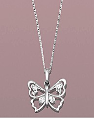 9ct Gold CZ Butterfly Pendant