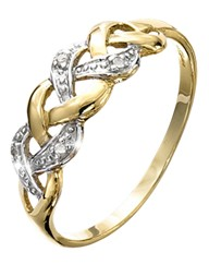 9 Carat Gold Diamond-Set Crossover Ring