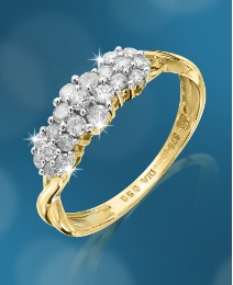 9 Carat Gold 1/4ct Diamond Cluster Ring