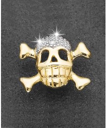 9ct Gold Diamond Skull n Crossbone Stud